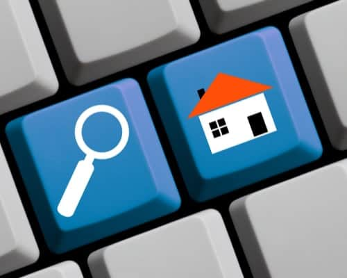 keyboard with house and search icon