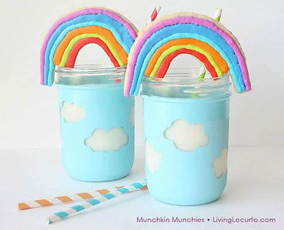 Rainbow Cookies and Milk Recipe - 50 Mason Jar crafts and recipes