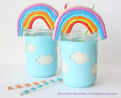 How to make Rainbow Cookies in Cloud Mason jars. Adorable Sugar Cookie Recipe for a Rainbow Party