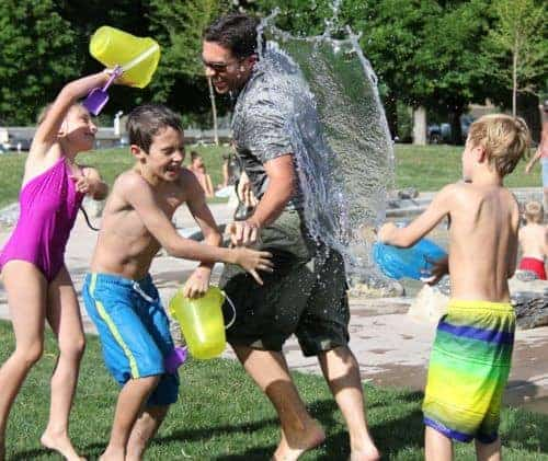 A water fight is a fun staycation activity