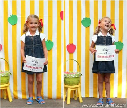 Back to school signs for the 1st day of school. Fun photo booth ideas for kids.