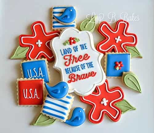 4th of July Patriotic Party Ideas with Printables. Cookies by Lizy B Bakes. LivingLocurto.com