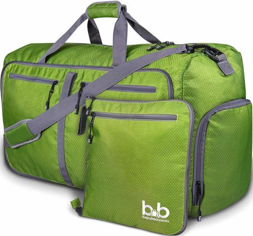 This roomy  green duffel easily packs for two people but folds up into its own small pouch.