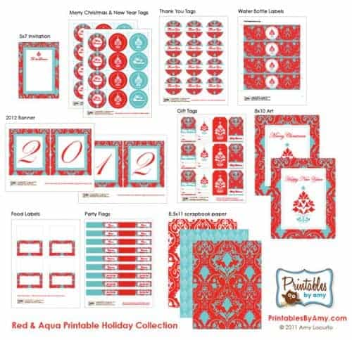 Red & Aqua Holiday Party Printables - Invitations, tags, banner