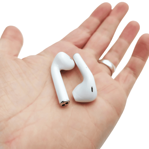 Image shows the earbuds on the palm of my left hand.