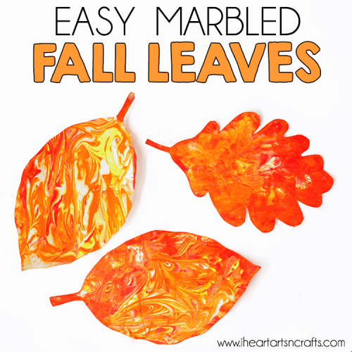 Easy Marbled Fall Leaves
