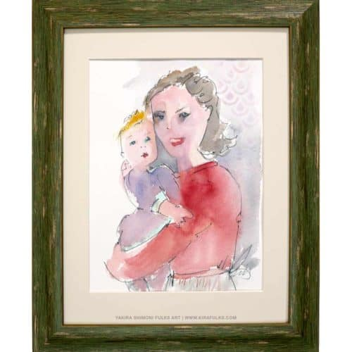 Mother and Child-2-Watercolors ©Yakira Shimoni Fulks—Kira Art and Poetry
