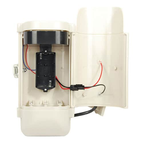 White Solar Powered Dummy Camera With Door Open