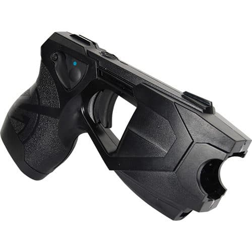 top side view x26p black taser with laser fully loaded