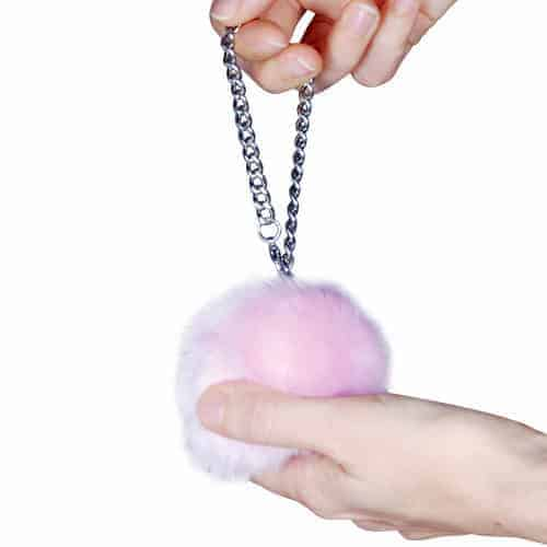 hanging in hand purple fur ball personal alarm