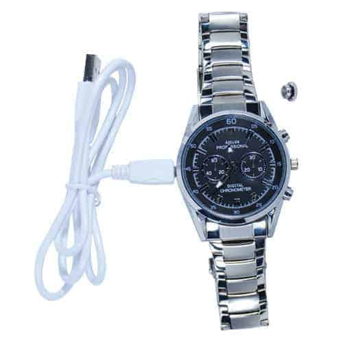 hd watch with hidden camera and silver band with charging cable top view