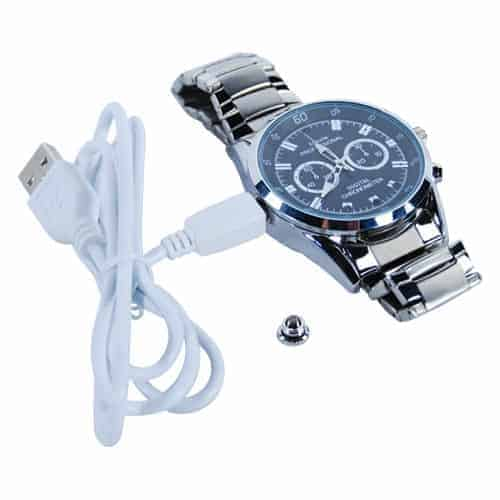 hd watch with hidden camera and silver band with charging cable