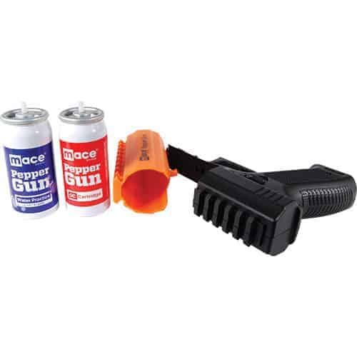 Orange Mace Brand Pepper Spray Gun 2.0 open with replacement cartridges view