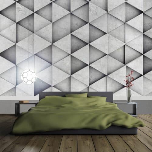 Nowoczesna sypialnia na ścianie tapeta z efektem 3D w geometryczne wzory
