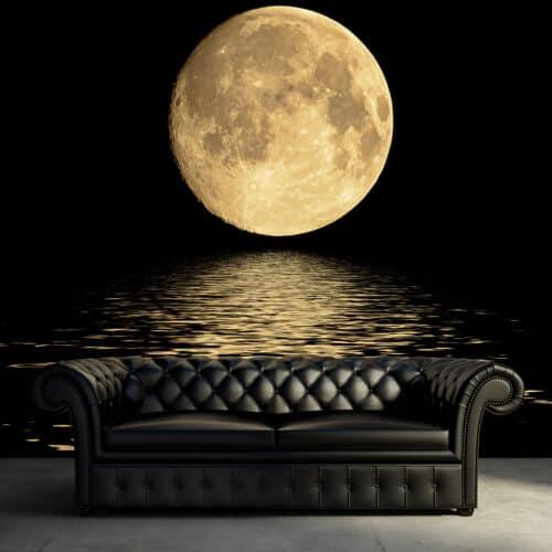 Fototapeta D morze w świetle księżyca