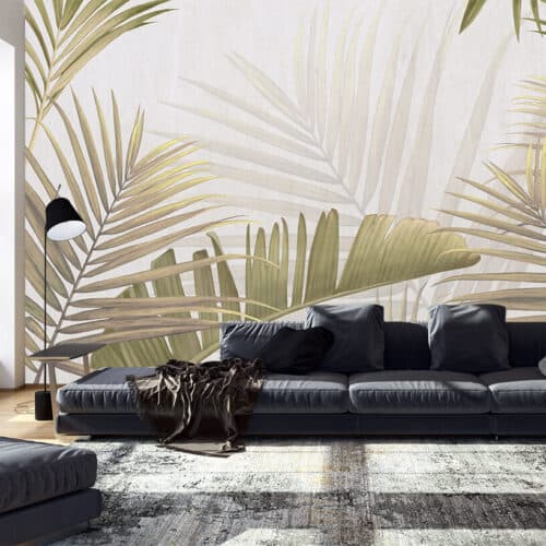 Tapety do salonu wliście palmy
