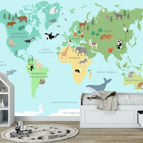 fototapeta dla dziecka Mapa Świata Zwierzęta