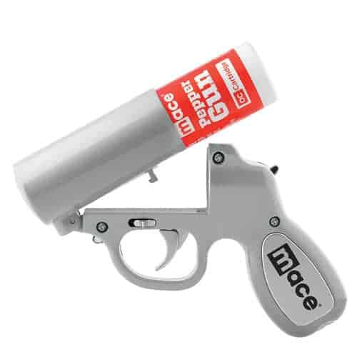 Mace® Pepper Gun Silver With O C Canister Left Side View