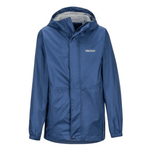 Marmots precip kids jacket is eco-friendly and has details to keep kids warm and dry in the fall and spring
