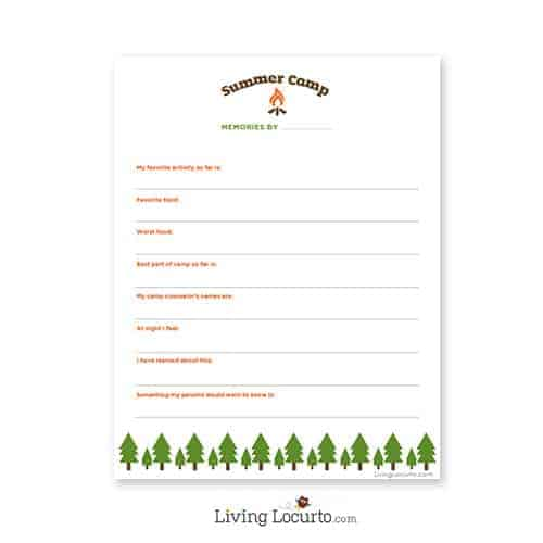 Summer Camp Care Package Ideas | Free Printable Questionnaire. Livinglocurto.com
