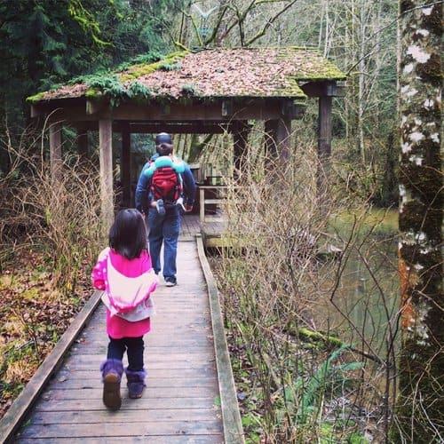 A family hiking in Forest Park in Portland, one of the things to do in Portland with kids