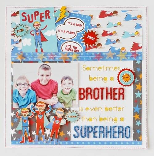CUTE Superhero layout with Party with Amy Locurto - Scrapbook & Party Designs    Super hero Party IDeas