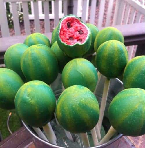 Watermelon cake pops. These creative Summer Cake Pops are perfect birthday or pool party desserts. From beach balls and sharks to lady bugs and crabs, enjoy these cute fun food ideas for cake pops!