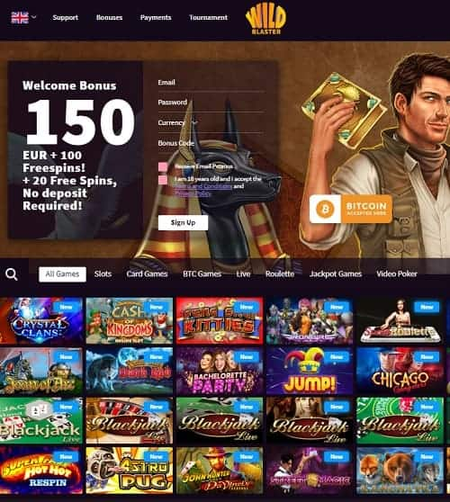 Wildblaster Casino Review | 120 free spins and €400 welcome bonus