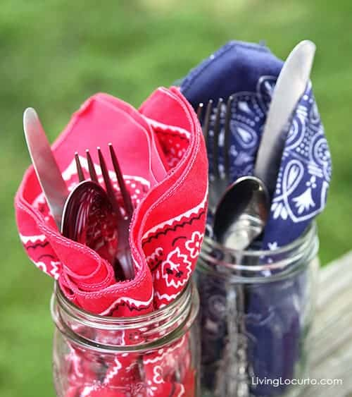 Red White and Blue Party Idea - Bandanas and utensils in a jar. Livinglocurto.com