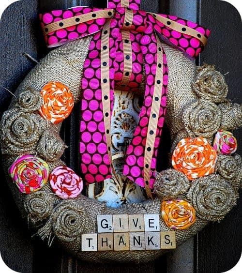 How to Make a DIY Burlap Scrabble Tile Fall Wreath. LivingLocurto.com