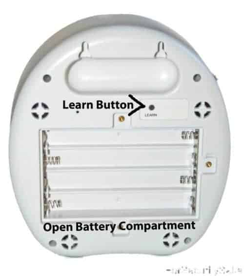 Electronic Barking Dog Alarm Back With Open Battery Compartment And Learn Button