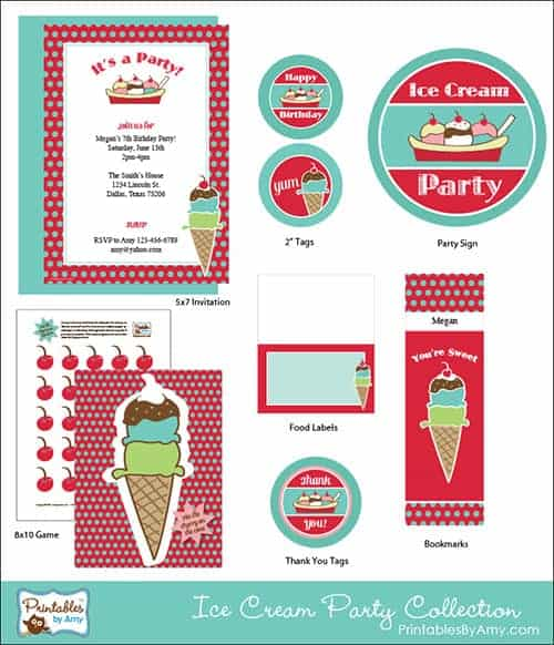 Red & Teal Ice Cream Party Collection. Cute Printables by Amy Locurto! PrintablesByAmy.com