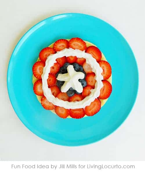 Captain America Pancakes make breakfast SUPER fun! Feel the power with this easy recipe for Captain America's shield made out of fruit.