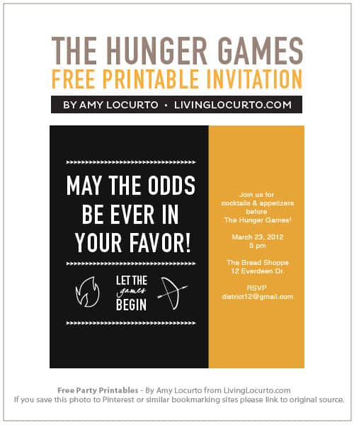 The Hunger Games Party Invitation - Free Printables