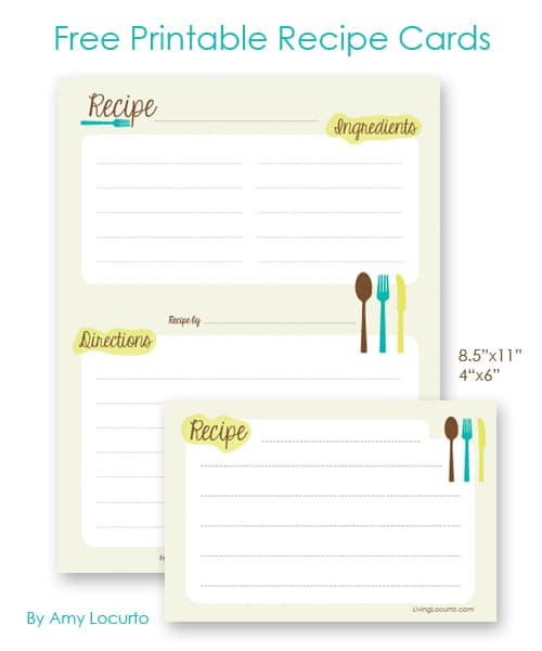 Free Printable Recipe Cards by Amy Locurto Living Locurto