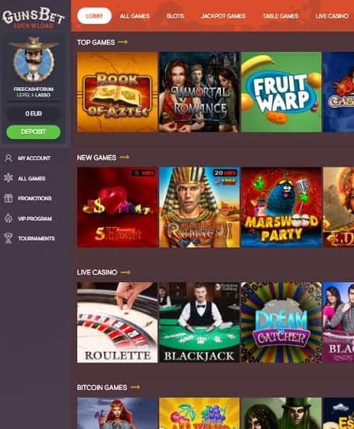 Gunsbet Casino Review - play for free in bitcoin casino!