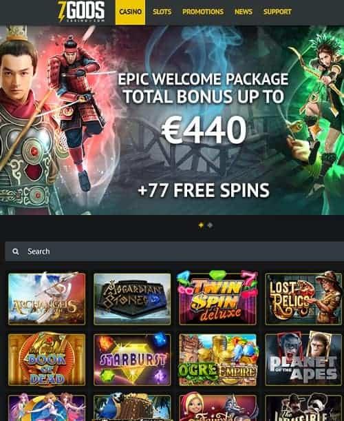 7GodsCasino.com free spins bonus