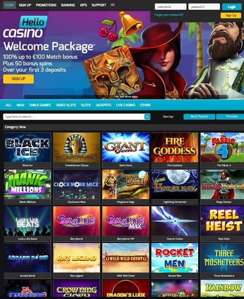 Hello Casino Free Spins Games