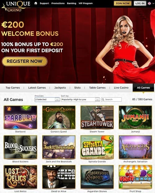 Unique Casino Free Spins Welcome Bonus