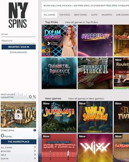NYspins Casino Review - €1000 free bonus and 200 free spins