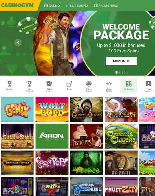 CasinoGym.com Free Spins Bonus