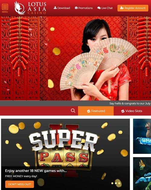 Lotus Asia Casino Review 300 free spins & $2300 free cash - bonus codes