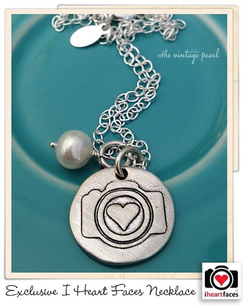 I Heart Faces Exclusive hand-stamped silver camera charm necklace.