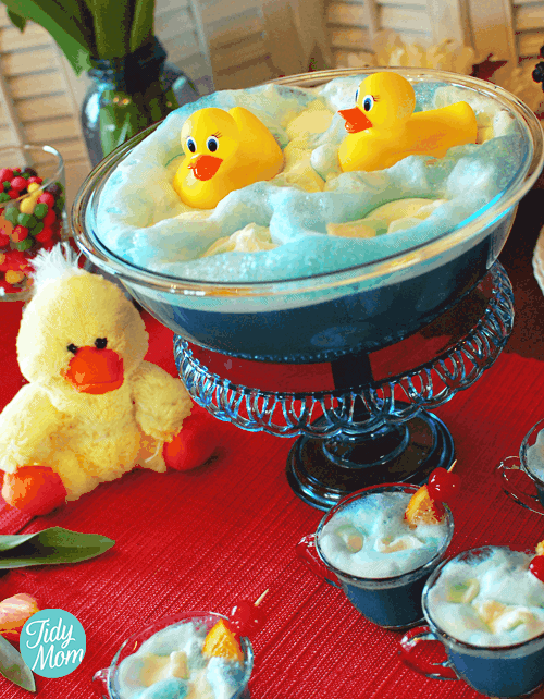 Baby Shower Punch Recipe - Cute blue punch with ducks.