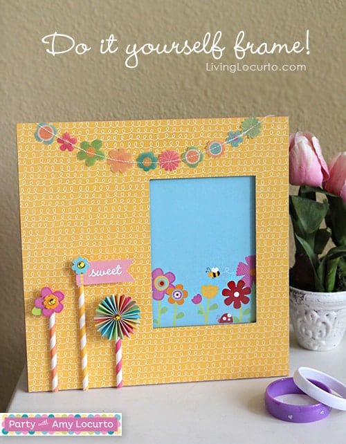 Easy DIY Frame made with Party with Amy Locurto from Pebbles Scrapbook Collection. DIY Gift - Craft Tutorial