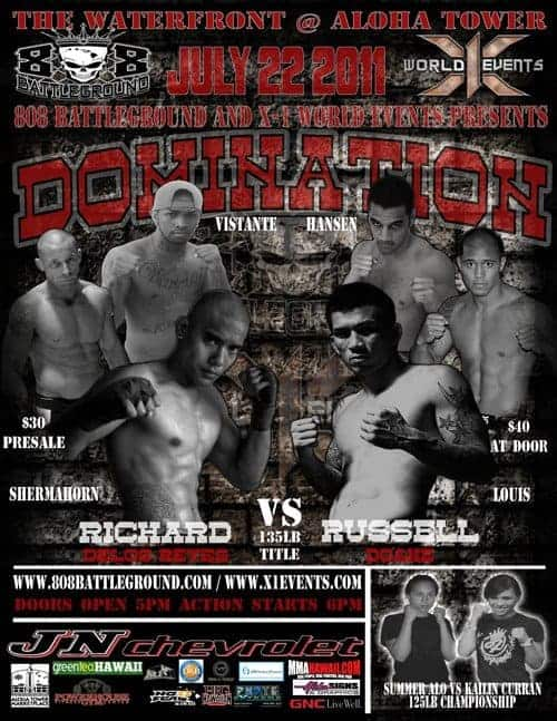 X1#37 Domination Full Fight : Hawaii MMA,Russell Doane vs Richard Delos Reyes,Johnavan Vistante vs Brenson Hansen,Casey Daniel vs Jonathan Joao,Kailin Curran vs Summer Alo,Shayne Nozaki vs Lowen Tynanes,Cody Santos vs Jared Iha,Bruen Tavares vs Ryan Dela Cruz,Robby Ostovich vs Noah Pacheco,Valerie Aspaa vs Sarah Kahee,Damon Carr vs Ryan Pilanca,Paul Lopes vs Micah Ige