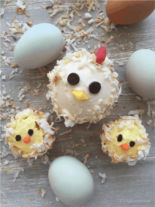 Backyard chicken lovers will fly the coop over these cute chicken cupcakes!  Celebrate a birthday party, Easter or baby shower with mom and baby chick cakes.