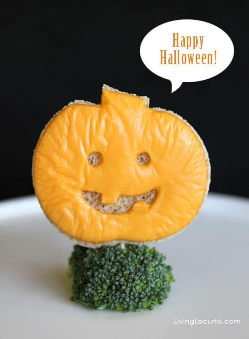 Halloween Jack o' Lantern Grilled Cheese Sandwich LivingLocurto.com