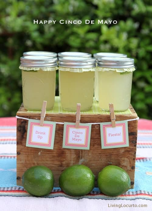 Cinco de Mayo Party Ideas - Margaritas in a Jar - Free Printables