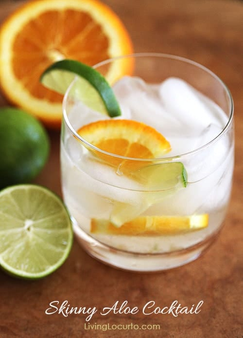 This Skinny Aloe Cocktail Recipe is perfect low carb, low calorie drink for lounging by the pool or serving at a party.